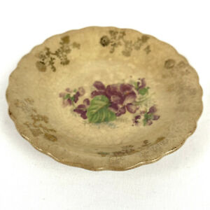 Antique-Saucer-Porcelain-Pearlescent-Hand-Painted-Gold-Trim-Floral-Scalloped