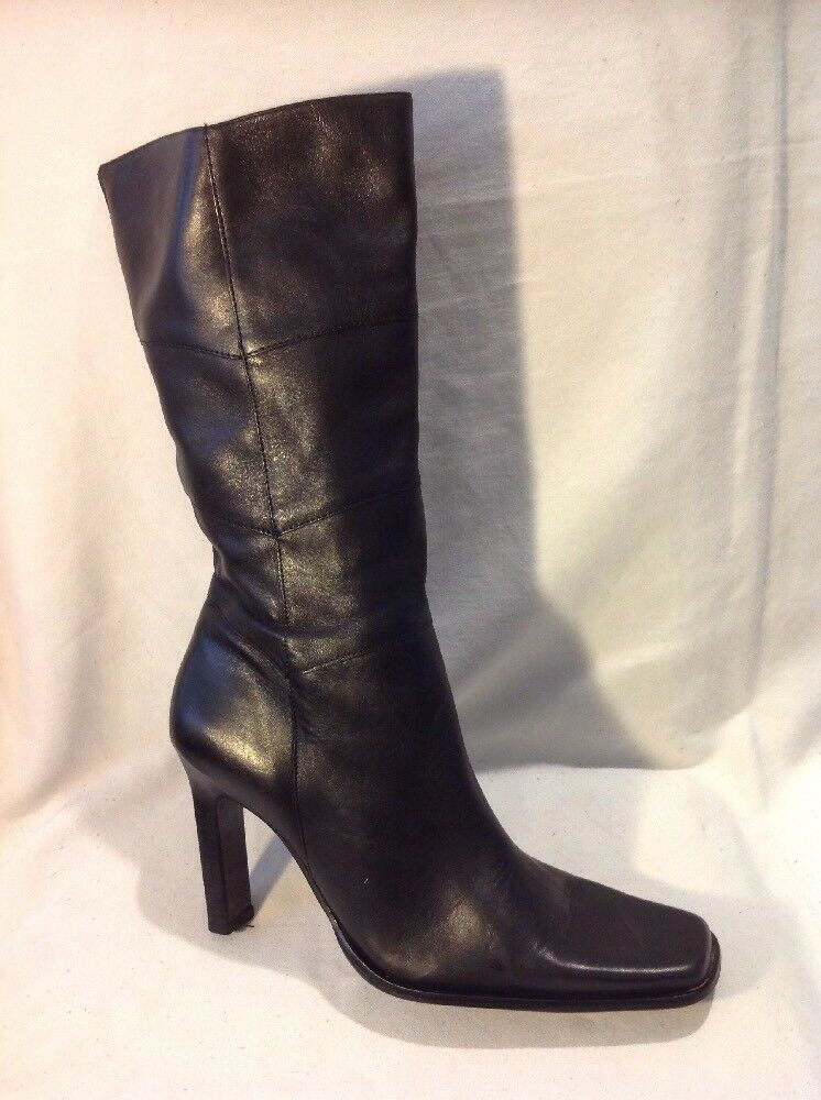 Ravel Black Mid Calf Leather Boots Size 38