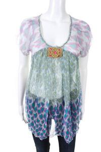 Antik-Batik-Womens-Yuka-Sheer-Beaded-Blouse-Top-Blue-Silk-Size-Extra-Small