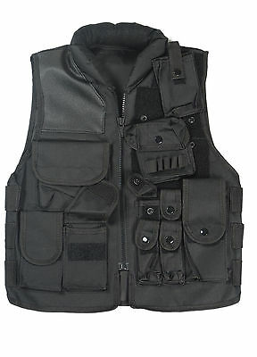 US SWAT AIRSOFT TACTICAL HUNTING COMBAT VEST BLACK-34040