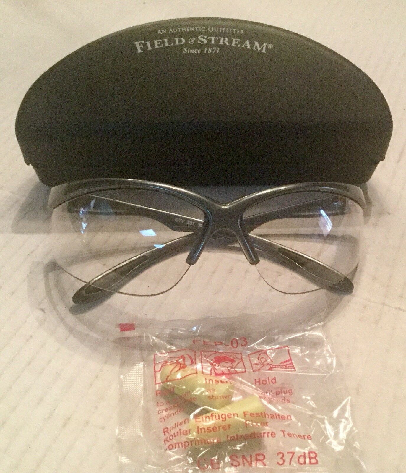 Field & Stream  Shooting Safety Glasses With Ear Plugs and Case
