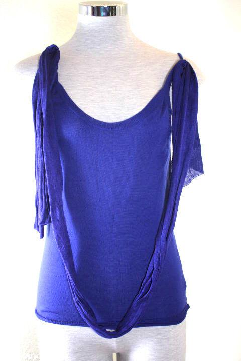 CELINE Cashmere Ladies Top Blouse Sleeveless Stylish Royal Blau  6 7