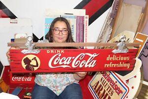 "Rare Vintage 1940's Drink Coca Cola Soda Pop 36"" Kay Displays Wood Sign"