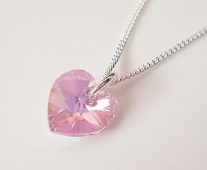 Childrens 925 silver necklace made with a swarovski crystal pink image is loading childrens 925 silver necklace made with a swarovski aloadofball Image collections