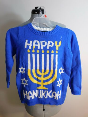 Hanukkah Sweater Kids Blizzard Bay Size 7 Blue Happy Menorah
