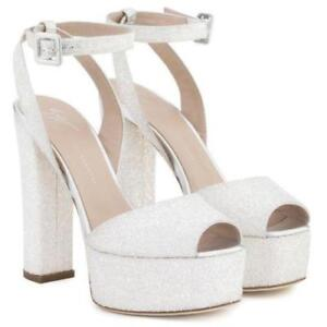 e29b4bdd8129 Image is loading GIUSEPPE-ZANOTTI-Betty-White-Glitter-Platform-Sandals-Clog-