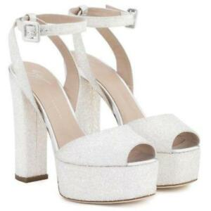 1204bfe4b94ae Image is loading GIUSEPPE-ZANOTTI-Betty-White-Glitter-Platform-Sandals -Clogs-