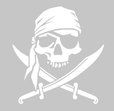 """5"""" Pirate Skull Cool Awesome Custom Car Automotive Vinyl Sticker Decal (White)"""
