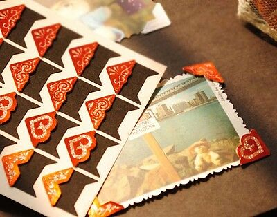 24pcs Gold Glitter Retro Self-adhesive Photo Corner Stickers scrapbook album