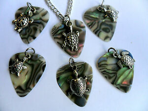 Abalone Celluloid Guitar Pick and TURTLE Charm Silver Necklace Six To Choose - Sunderland, Tyne and Wear, United Kingdom - Abalone Celluloid Guitar Pick and TURTLE Charm Silver Necklace Six To Choose - Sunderland, Tyne and Wear, United Kingdom