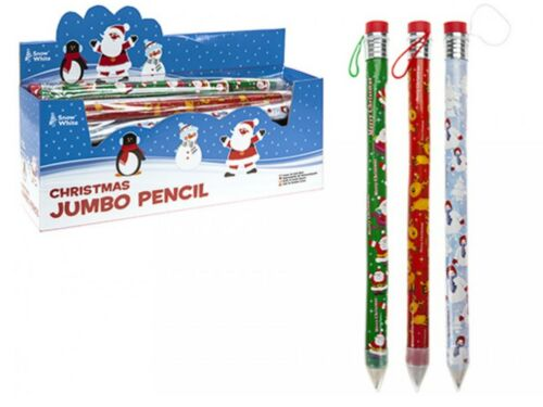 6 Large JUMBO Christmas Xmas Pencil /& Erasers Stocking Fillers Class Gifts