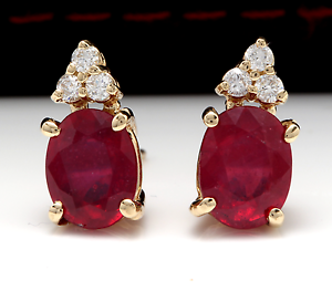 4.20ct Red Ruby and Diamond 14K Solid Yellow gold Earrings