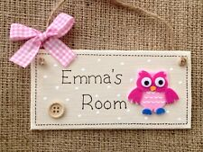 Owl Personalised Childrens Kids door sign Plaque *ANY LETTER//NAME* wood