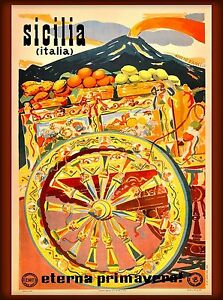 Sicilia-europe-Italy-Vintage-painting-Travel-Poster-Print-art-large-canvas