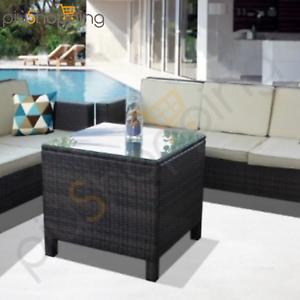 Tavolino Rattan Da Giardino.Dettagli Su Tavolino Tavolo Da Giardino In Poly Rattan Esterno Quadrato Con Ripiano In Vetro