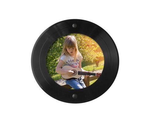 Runder Bilder-Rahmen aus echter Vinyl-Schallplatte (7 Zoll Maxi bzw. Single)