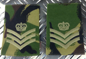 Epaulettes Genuine British Army Woodland Camo SERGEANT MAJOR Rank Slides NEW