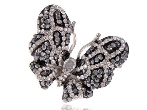Jet Black Crystal Rhinestone White Flying Wing Fly Butterfly Custom Charm Rings