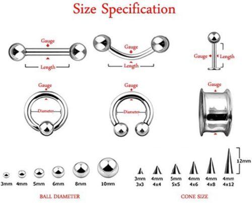"Labret//Chin Stud w//Clear Gem Ball 5mm 14 Gauge 5//16/"" Steel Body Jewelry"