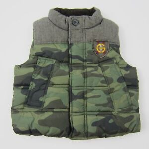 7ab35749a2078 Baby Gap Boys Vest Camouflage Puffer Zip Up Vest Camo Green Brown ...