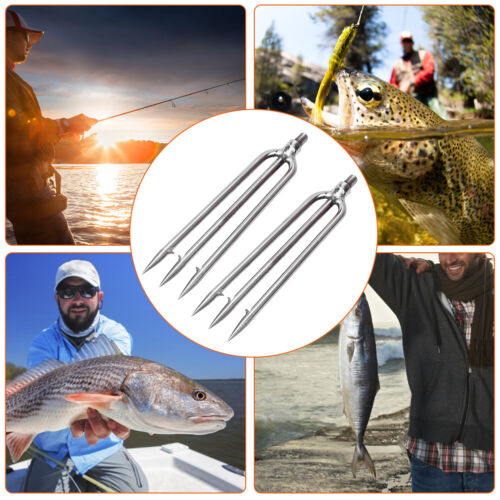 2pc Stainless Steel 3 Prongs Harpoon Gig Gaff Hook Barb Fish Spear for Outdoor❤C