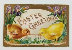 Postcard-Easter-Greetings-Two-Chicks-Pulling-on-Worm-1909