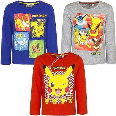 Amicable Pokemon Maglietta T-shirt Bambino Cotone Manica Lunga Pleasant In After-Taste Bambini 2 - 16 Anni