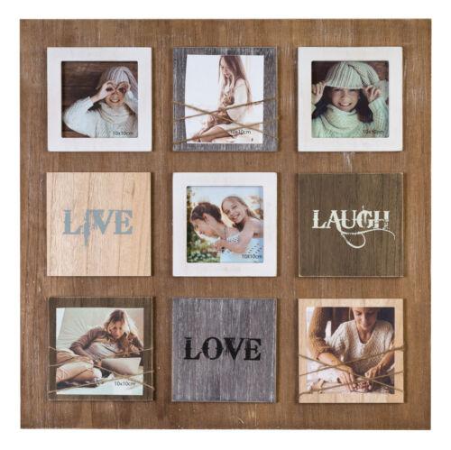 Laugh Love Live Bilderrahmen für 6 Fotos in 10x10 cm Galerie Foto Collage