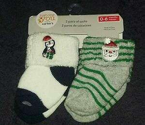 73a504d56 NEW Carter s JOY Baby Boy 2-Pair Pack Christmas Socks 0-6 Month ...