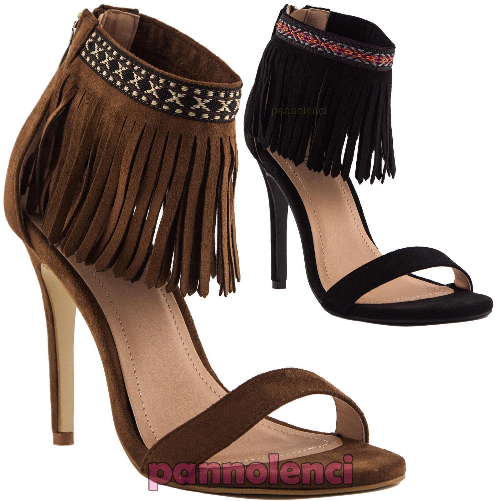 Women's shoes sandals suede strap fringes heels eco-leather new EK126