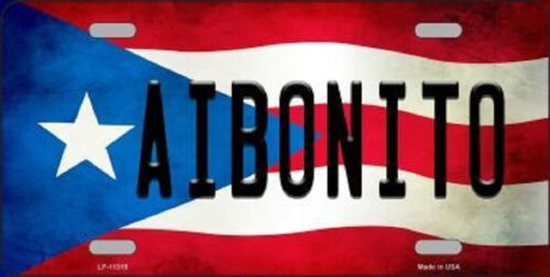 AIBONITO PUERTO RICO STATE FLAG BACKGROUND NOVELTY METAL LICENSE PLATE TAG