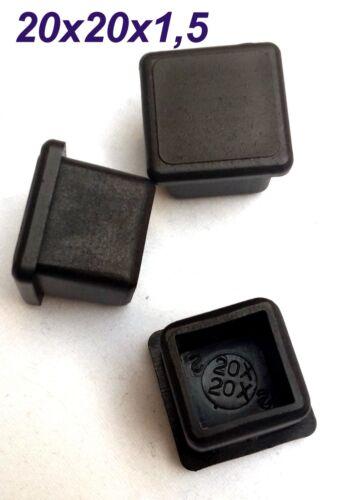 1000x 20x20x1,5 mm Vierkant Rohr stopfen Endkappen Fußkappen Schwarz Kappen Neu