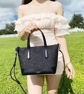 Kate Spade Lola Joeley Glitter Ina Small Satchel Crossbody Bag Black