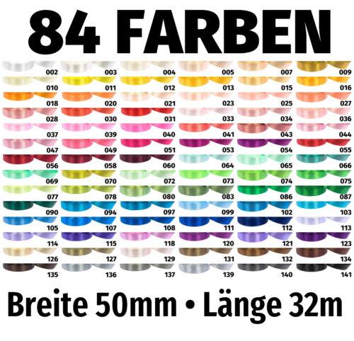 32m x 50mm Satinband Schleife Band Dekoband Geschenkband Deko 84 Farben zur Wahl