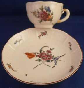Antique 18thC Ludwigsburg Porcelain Floral Cup & Saucer Porzellan Tasse As Is