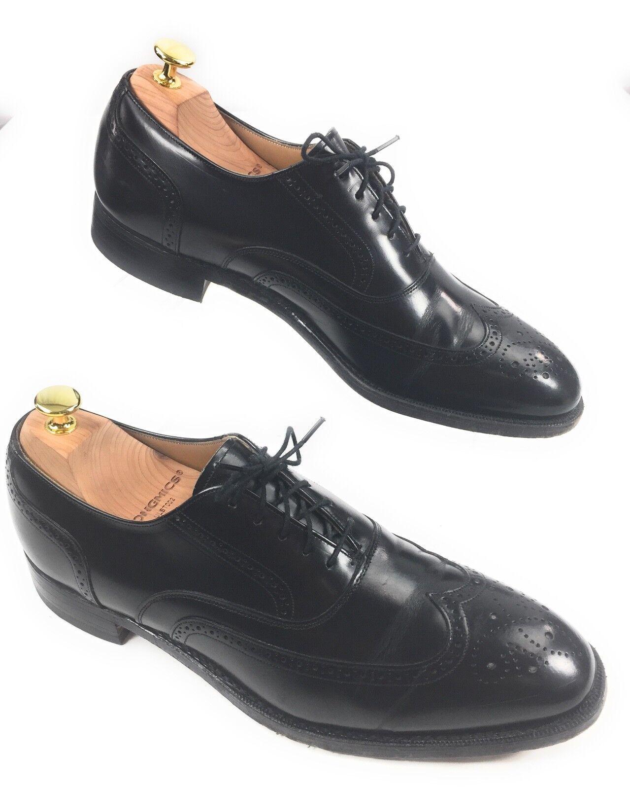 Johnston & Murphy Optima Black Leather Brogue Wingtip Oxford Shoes Mens 11 B USA