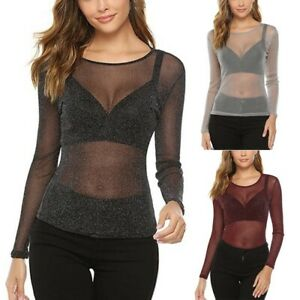 Women-O-Neck-Long-Sleeve-Solid-Sheer-Tee-See-Through-Blouse-Mesh-Perspective-Top