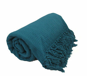 Teal-100-Cotton-Sofa-Bed-Throw-Single-Double-King-Size-Throws
