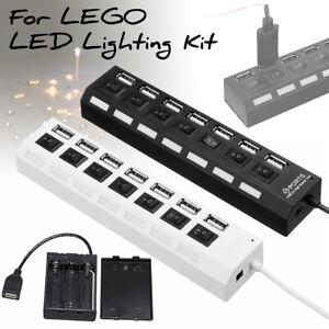7-USB-Outlets-Splitter-Switch-Battery-Box-For-LEGO-installing-LED-Light-Bricks