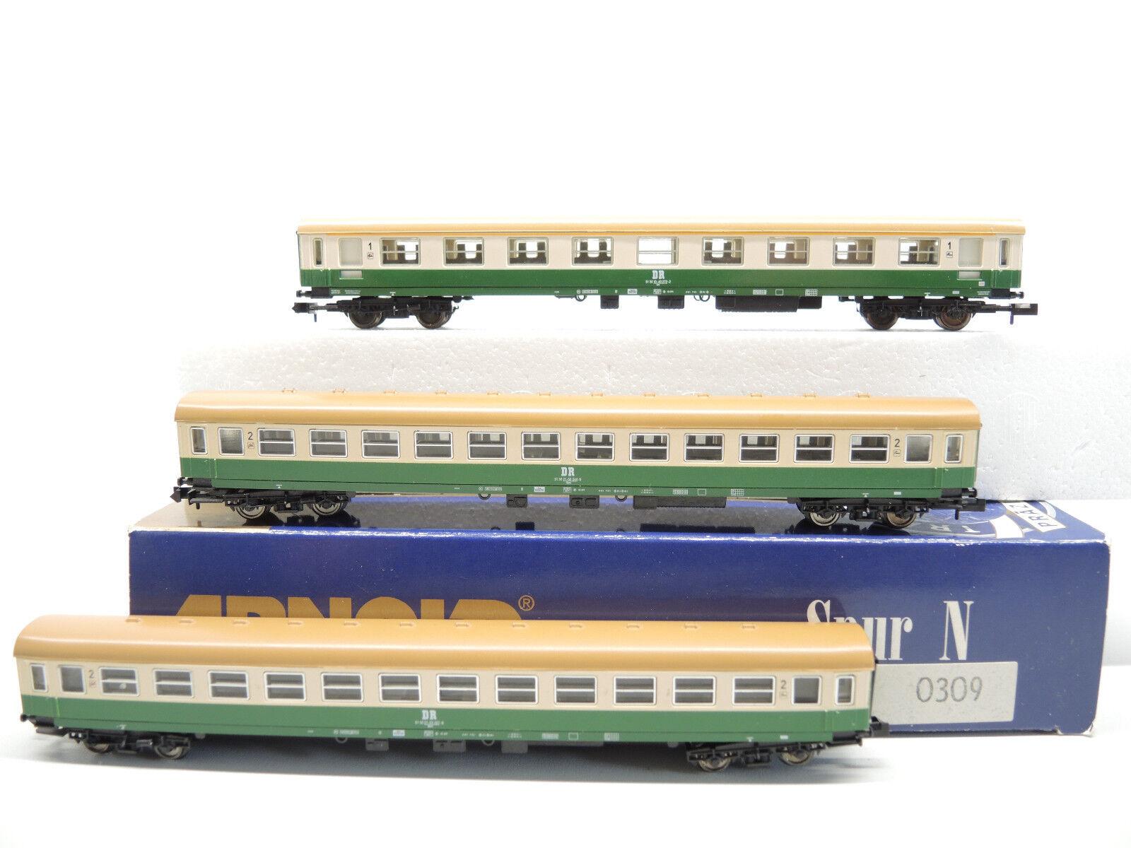 Arnold 0309 0309 0309 vagoni-Set della DR, mezza città, 3 pezzi, molto bene, OVP c64eee