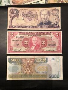 LOT-Costa-Rica-2-colones-500-Colones-5000-colones-Circulated-Banknotes