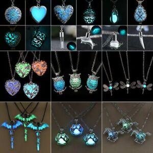 Women-Luminous-Glow-In-The-Dark-Hollow-Heart-Owl-Animal-Pendant-Necklace-Jewelry