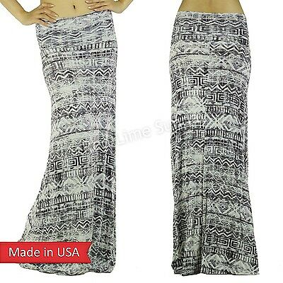 Weathered Faded Vintage Look Aztec Tribal Print Fold Over Long Maxi Skirt USA