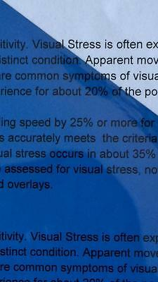 A4 202 Medium Blue Coloured Sheet Overlay Dyslexia Transparent Stress reading