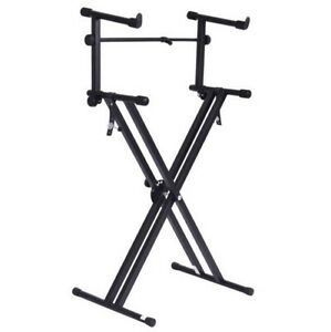 pro adjustable 2 tier x style dual keyboard stand electronic piano double new 803630315731 ebay. Black Bedroom Furniture Sets. Home Design Ideas