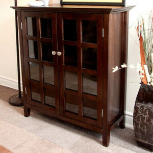 Tobacco-Mission-Craftsman-Shaker-Solid-Pine-Bookcase-Cabinet-New