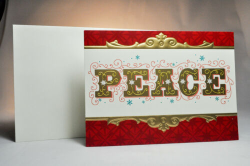 PEACE 2 Boxes of 16 Hallmark: Boxed Christmas Cards Red /& Gold Card