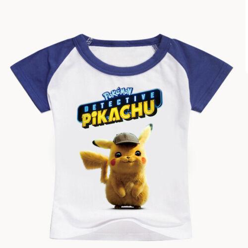 HOT Pokemon Detective Kids Boys Girls Pikachu T-shirt Short Sleeve Summer 3-12Y