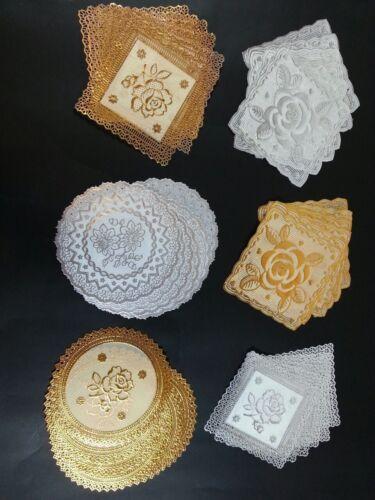 Nouveau 6 Pcs Salle à Manger Tapis decorationtea Coaster Gold Flower Lace Table Argent rond