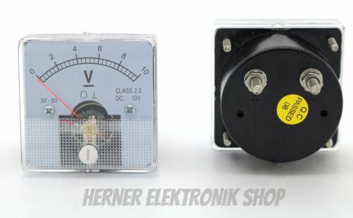 0-10 V DC Einbau Messinstrument Analog Voltmeter CLASS 2,0